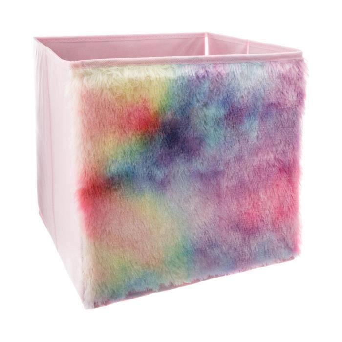 Atmosphera - Bac de rangement pliable Fourrure acrylique multicolore