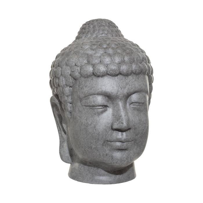 Atmosphera - Objet décoratif Tête de Bouddha grise pour extérieur ou intérieur H 66 cm Gris