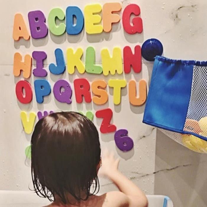 【décoration murale】Chiffres en mousse lettres carte jouet de bain alphabet salle de bains jouets bâton sur le mur de mousse
