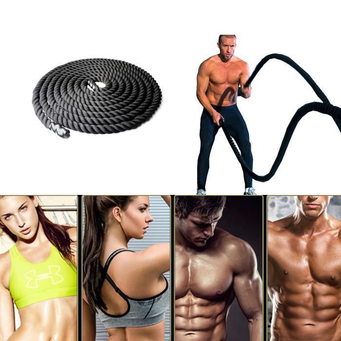 15M Corde de sport diamètre de 38MM câble bataille avec poignées en caoutchouc fitness et musculation - noir