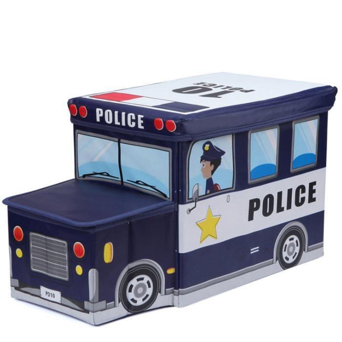 Tabouret de rangement pliant pour enfant Boîte de Rangement pour Jouets d'enfant Décor chambre Cadeau enfants, Voiture de police
