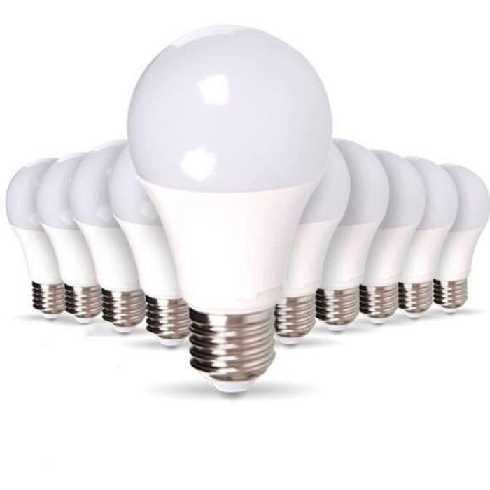 Lot de 10 Ampoules LED E27 9W eq 60W 806m Blanc Chaud