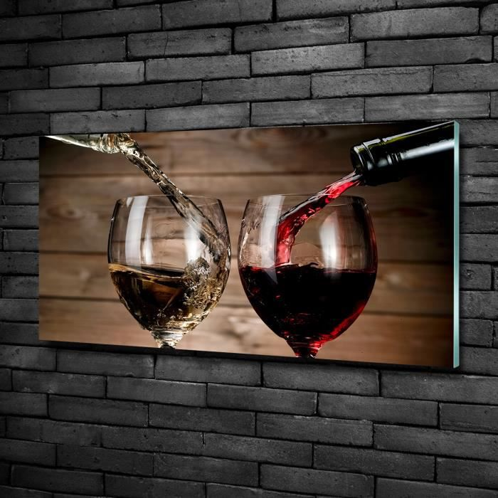 Tulup 100x50cm Tableau sur verre de sécurité:- Nourriture boissons - Deux Verres De Vin - Rouge