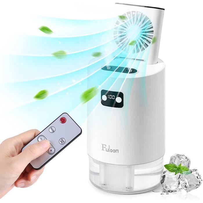 Ventilateur Silencieux Humidificateur d'Air 2 en 1 avec Télécommande 3 Vitesses Climatiseur Portable pour Maison Bureau