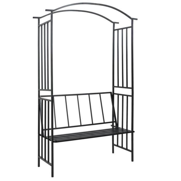 5904Vente® Arceau Voûte de jardin Elégant-Arche de jardin-Arceau à Rosiers Pergola à appentis avec banc Noir 128x50x207 cm Fer