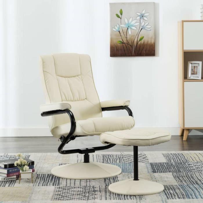 Fauteuil TV avec repose-pied Fauteuil relax contemporain confort Scandinave - Crème Similicuir