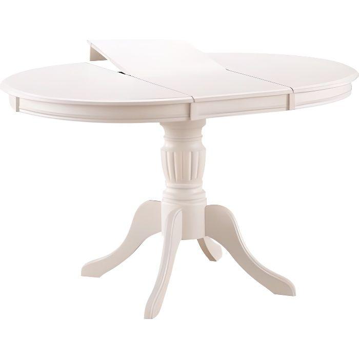 OLIMIA - Table élégante pour la salle à manger - 106x106x76 cm - Plateau ovale - Piètement en bois - Extensible - Beige