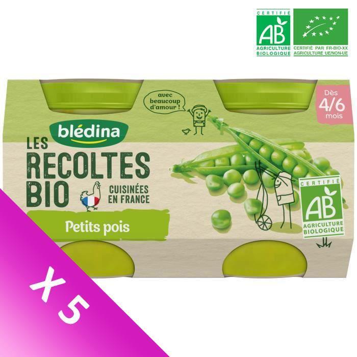 Blédina Les Récoltes Bio, Petits pots pour bébé bio - Dès 4/6 mois - Petits Pois - Lot de 5 x 260 g