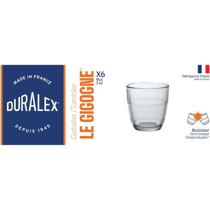 DURALEX Lot de 6 verres gobelets GIGOGNE - 9 cl