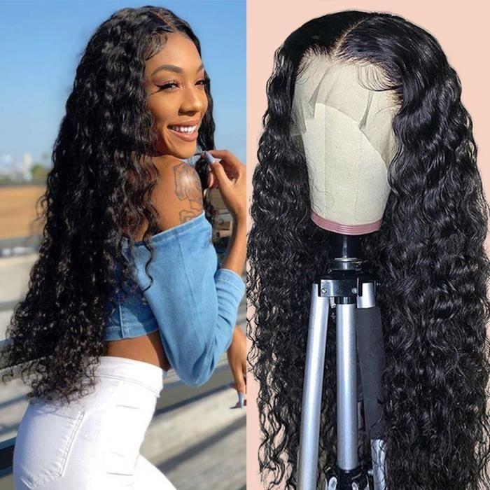 12'' Perruque Lace Frontal Wig Brésilienne Naturelle-brésilienne Cheveux Bouclés Ondulés Perruque Lace Front Wig