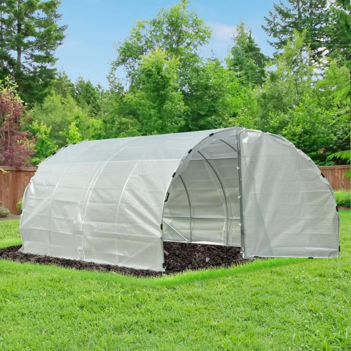 Serre de jardin tunnel surface sol 12 m² 4L x 3l x 2H m châssis tubulaire renforcé 25 mm double porte avec poignées blanc neuf 76WT