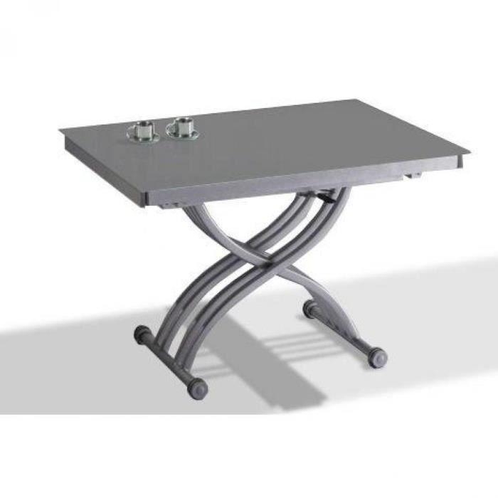 Table basse FORM relevable extensible, plateau en verre gris. - - Inside75