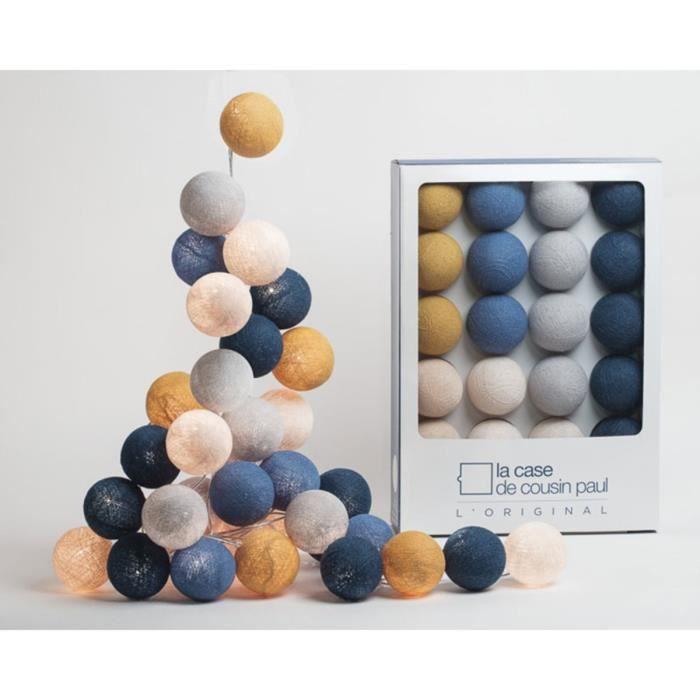 Guirlande Lumineuse Graceland - 20 Boules Bleu,Ivoire,Lin,Bleu Canard,Perle