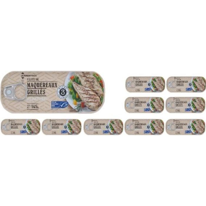 [Lot de 10] Maquereaux grillés au naturel - 145g par boite
