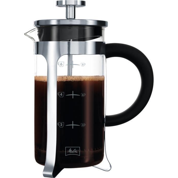 MELITTA Cafetière à piston Premium en verre et inox 8 tasses