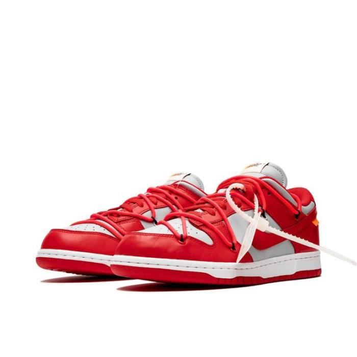 Off-White X Nike SB Dunk Low LTHR OW Homme Femme Chaussure CT0856-600 Rouge