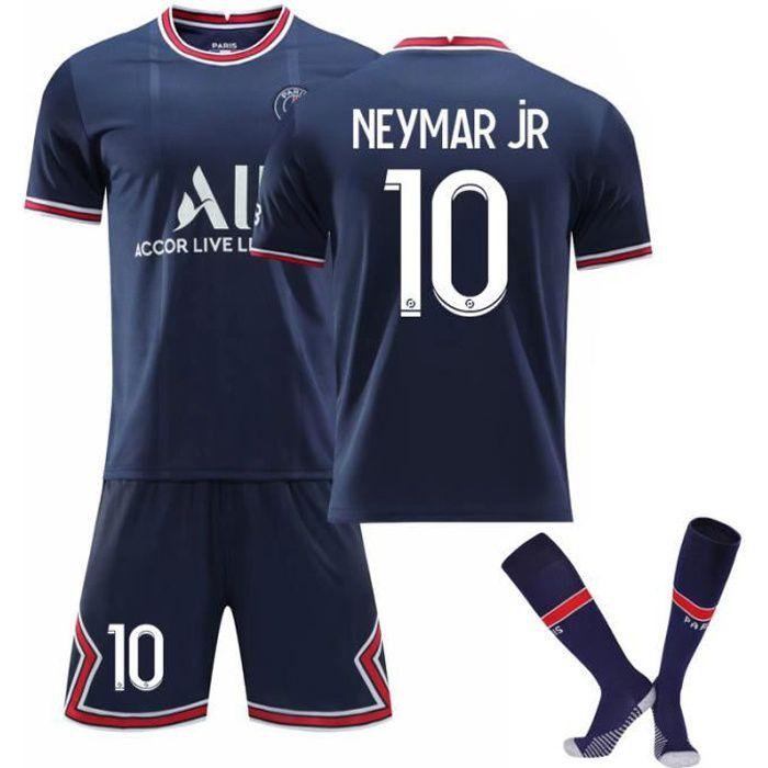 Maillot de Football Une Collection de Paris-Neymar 10 Maillot Domicile Bleu Tenue + Chaussette Tissu Respirant pour Enfant