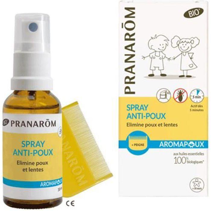 pranarom aromapoux spray anti-poux bio + peigne offert