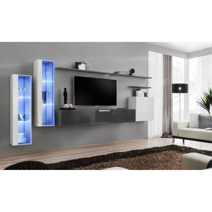 Ensemble meuble salon mural SWITCH XI design, coloris gris brillant et blanc brillant. 40 Gris