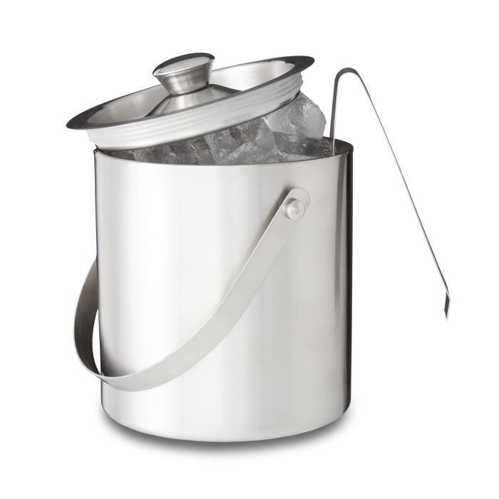 Relaxdays Seau à glaçons rond avec pince en inox argenté 2 litres avec couvercle HxlxP: 17 x 15 x 15 cm, argenté