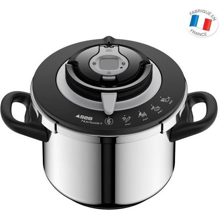 SEB P4221417 Autocuiseur Cocotte-minute NUTRICOOK®+ - 8L - Tous feux dont induction - Fabriqué en France - Inox et noir