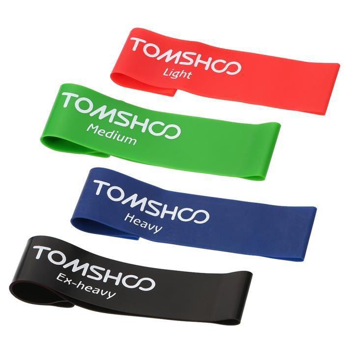 TOMSHOO 4pcs Bandes Élastique de Fitness pour Gym formation yoga maison fitness