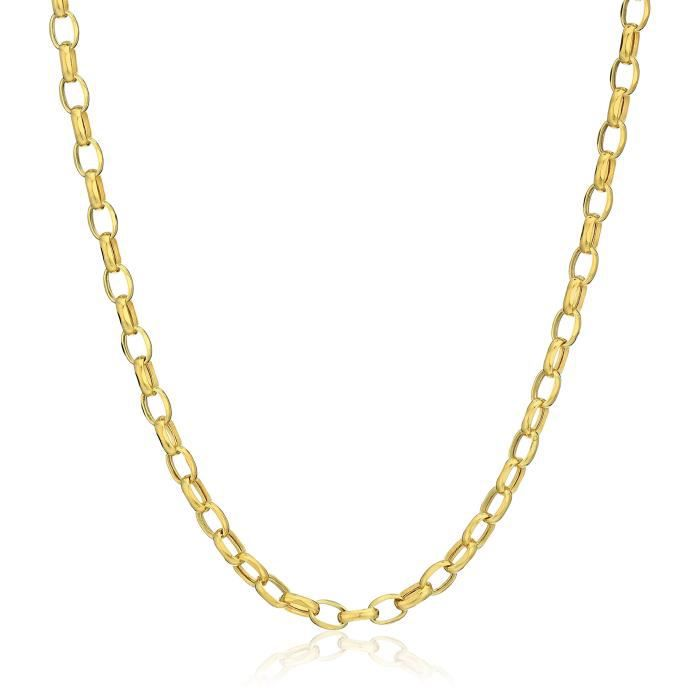 14k Yellow Gold Oval Belcher Chain Necklace, 20 Y116W