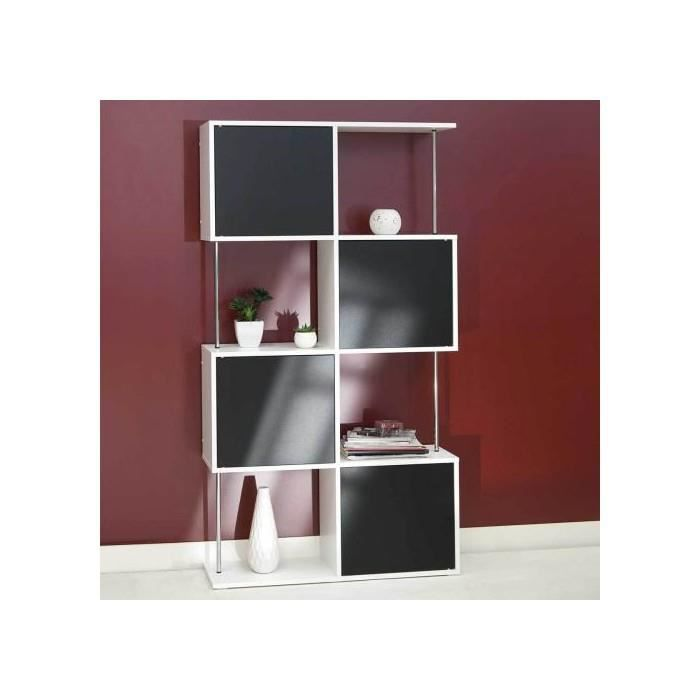 etagere bibliotheque semi fermee blanc noir achat vente etag re murale etagere bibliotheque. Black Bedroom Furniture Sets. Home Design Ideas