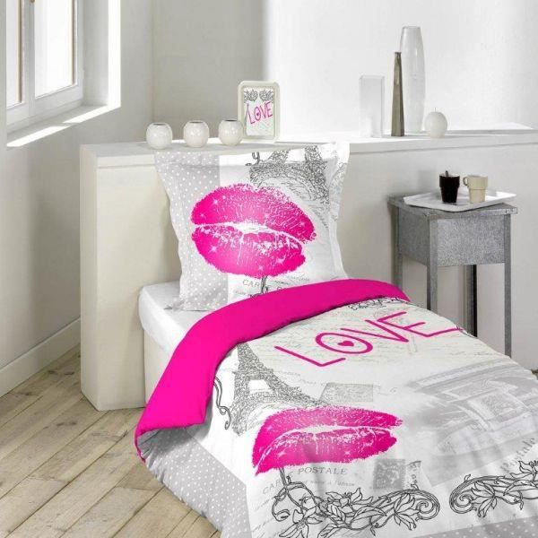 housse de couette 140x200 cm love paris 1to achat vente housse de couet. Black Bedroom Furniture Sets. Home Design Ideas