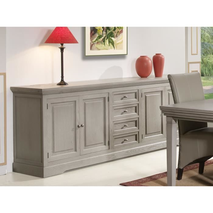 buffet bahut couleur ch ne gris 4 portes 4 tiroirs contemporain jousso l 291 x p 51 x h 90 cm. Black Bedroom Furniture Sets. Home Design Ideas