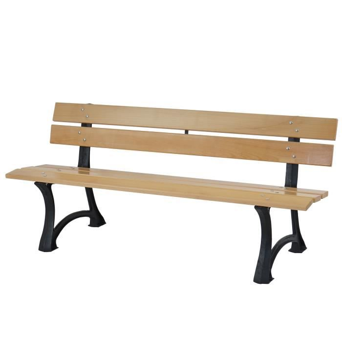 banc de jardin toulon banc de parc bois et fonte massif 42 5kg 170cm nature achat vente. Black Bedroom Furniture Sets. Home Design Ideas