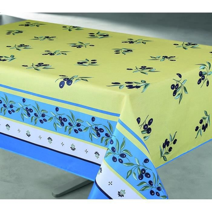 nappe enduite rectangulaire 145x240 cm jaune et bleu. Black Bedroom Furniture Sets. Home Design Ideas