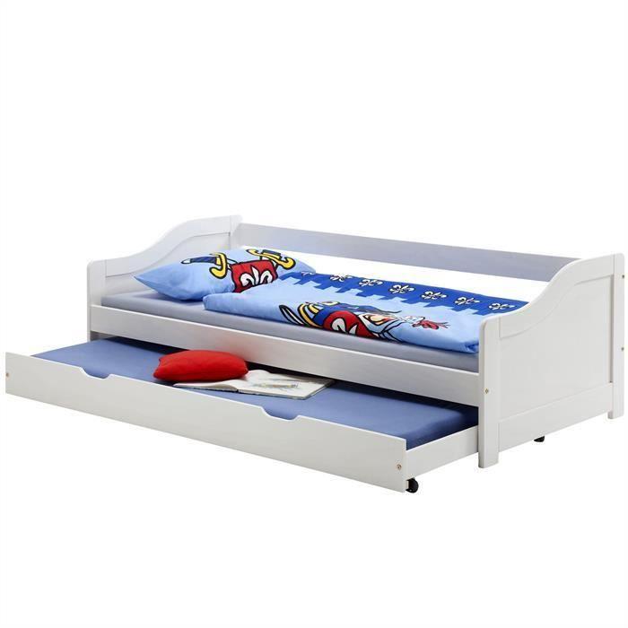 90 x 200 cm pin Massif lasur/é Blanc IDIMEX Lit gigogne lit Fonctionnel tiroir-lit Lisa