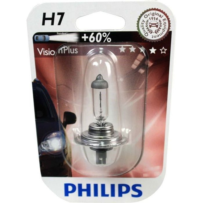 ampoule philips h7 visionplus 12v 55w achat vente. Black Bedroom Furniture Sets. Home Design Ideas