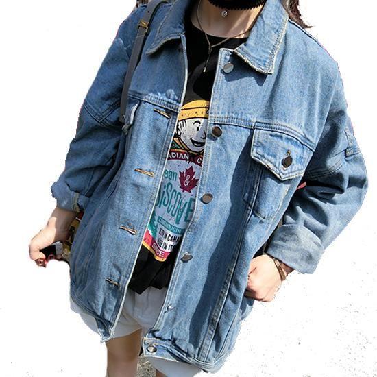 Denim veste avec poches manches longues style boyfriend décontracté femme jean jacket bleu foncé