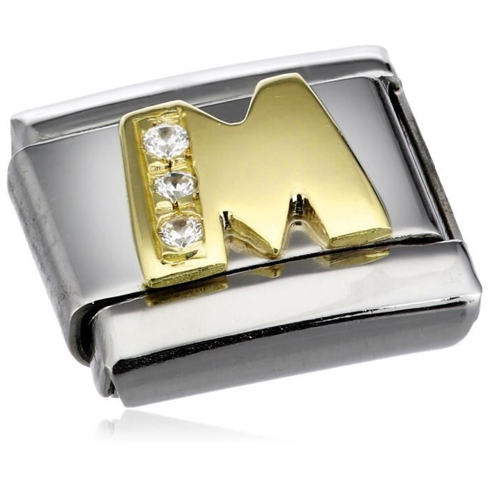 Nomination Womens Composable Classic M Letter Stainless Steel, K Gold And Cubic Zirconium