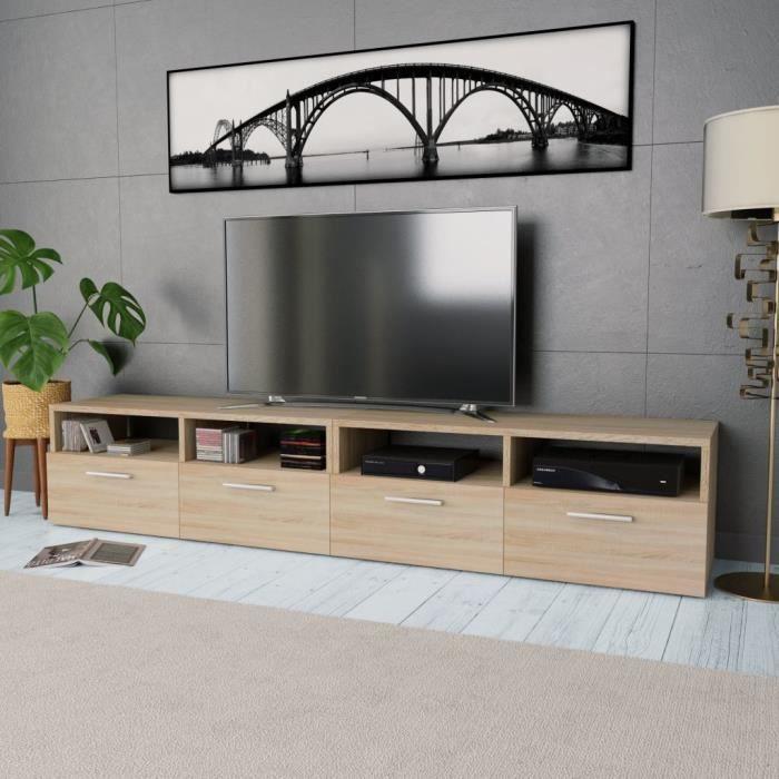 Meuble Tv Contemporain Meuble Salon Banc Tv 2 Pcs Agglomere 95 X 35 X 36 Cm Chene Achat Vente Meuble Tv Meuble Tv Contemporain Meuble Cdiscount