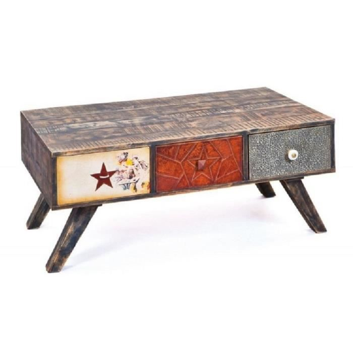 Table basse coloris multicolore 110 x 65 x 45 cm achat vente table basse - Table basse multicolore ...