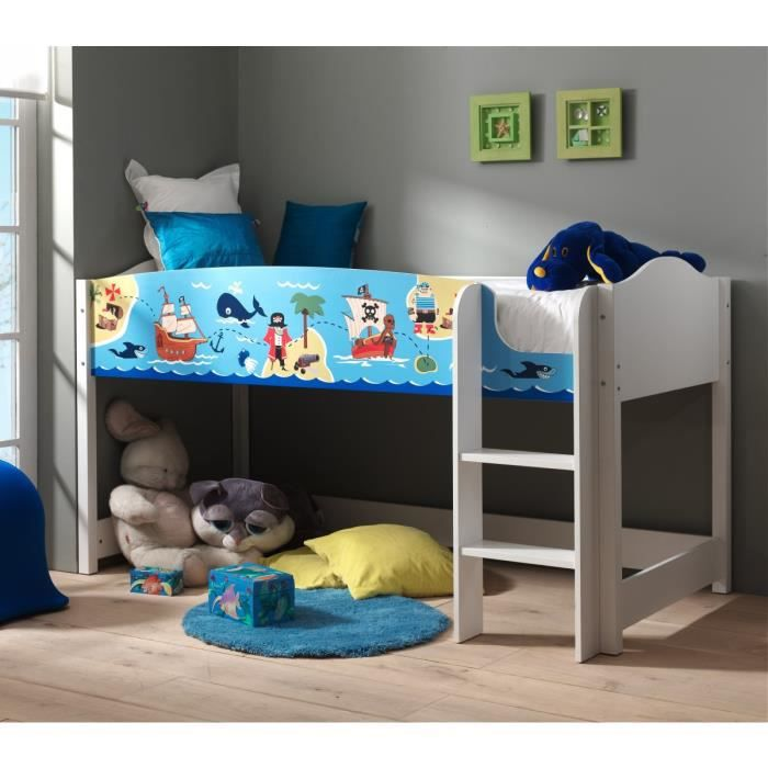 lit enfant mezzanine blanc 90x200 pirate achat vente lit mezzanine lit enfant mezzanine. Black Bedroom Furniture Sets. Home Design Ideas