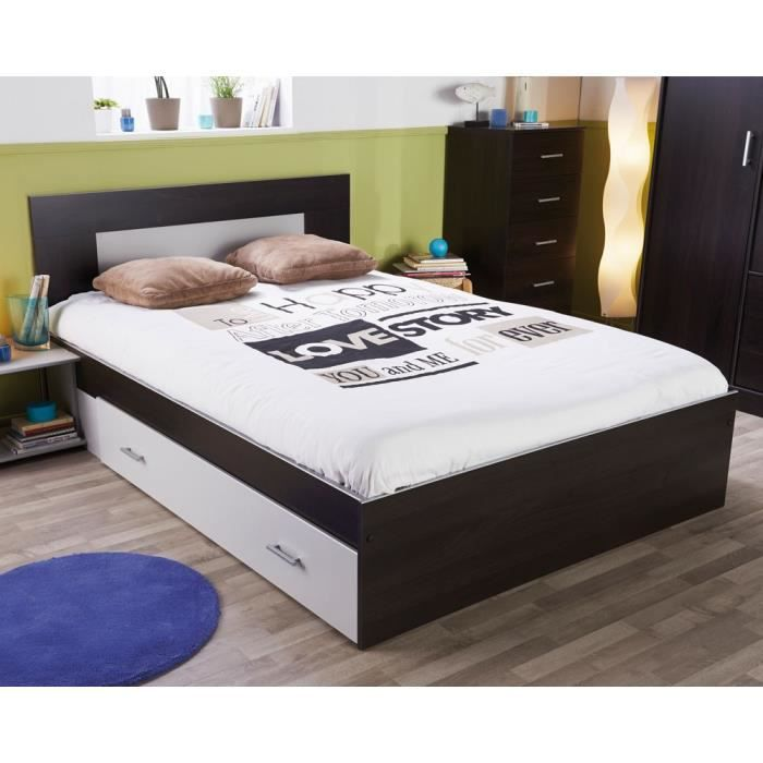 cadre de lit tiroir t te de lit 160 200 weng seal. Black Bedroom Furniture Sets. Home Design Ideas