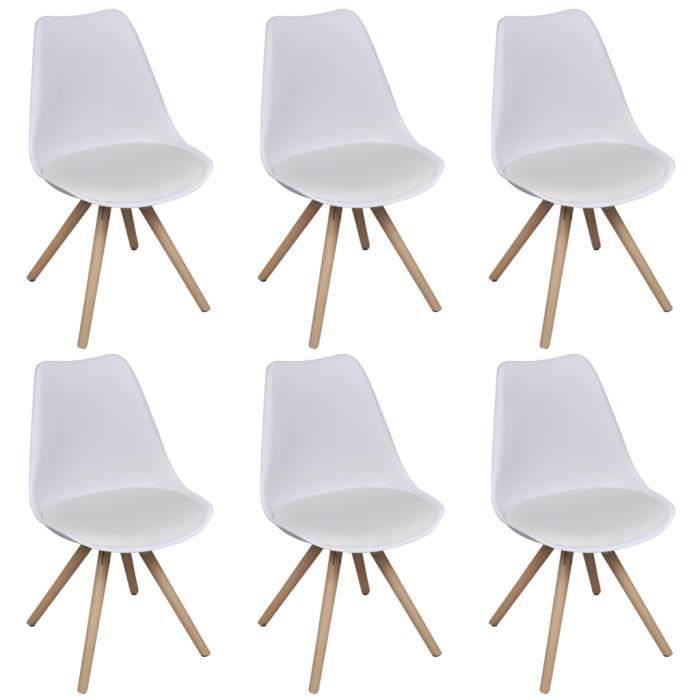 lot de 6 chaises blanches en cuir artificiel achat. Black Bedroom Furniture Sets. Home Design Ideas