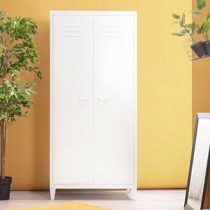 ARMOIRE DE CHAMBRE Porte armoire meuble haut caisson métal casier 2 p