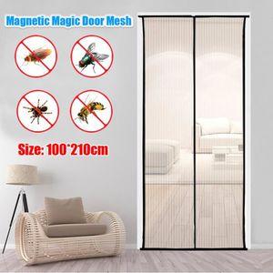 Moustiquaire magn/étique avec rideau en maille tr/ès r/ésistant anti-moustiques pour porte jusqu/à 99-83 et laisser entrer lair frais. rideau de porte magique pour /éviter les insectes gris