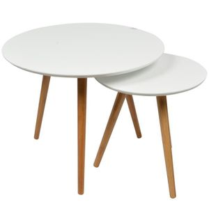 2 Tables Basses Gigognes Rondes Blanches Lagan Achat Vente Table