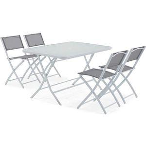SALON DE JARDIN  Table de jardin et 4 chaises pliantes en acier et