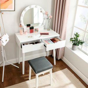 COIFFEUSE Coiffeuse avec miroir et ampoules pour maquillage