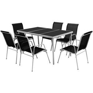 SALON DE JARDIN  Ensemble de salle à manger d'extérieur 7 pcs table