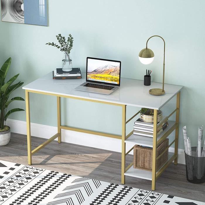 Tablettes de rangement à 2 niveaux pour bureau à domicile de 47 -, bureau d'ordinateur, blanc et or, 120 x 60 cm