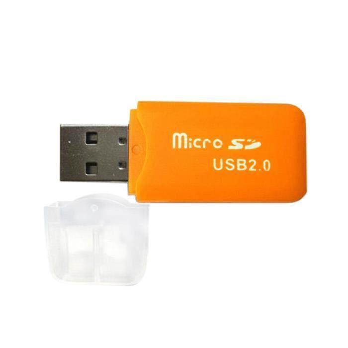 Clé USB 2.0 vers Lecteur Carte Mémoire Micro SD (Orange)