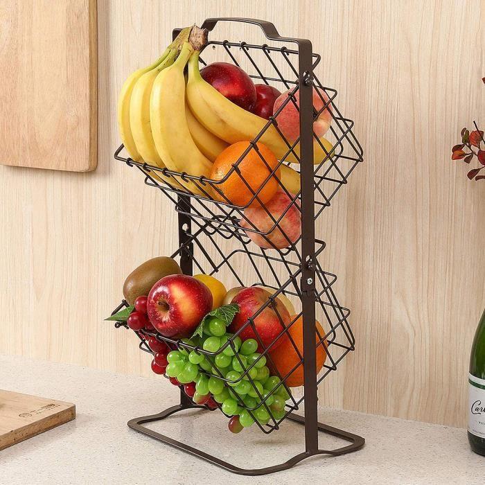 MING Panier de Rangement en Métal, Corbeille à Fruits ,Panier à Légumes Noir